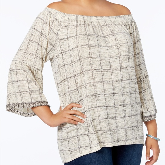 cdbbde557ac132 Style   Co Printed Striped Off The Shoulder Top